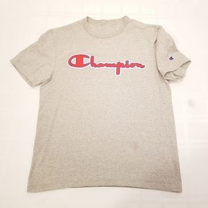 Champion T Shirt Grey Large Spell out